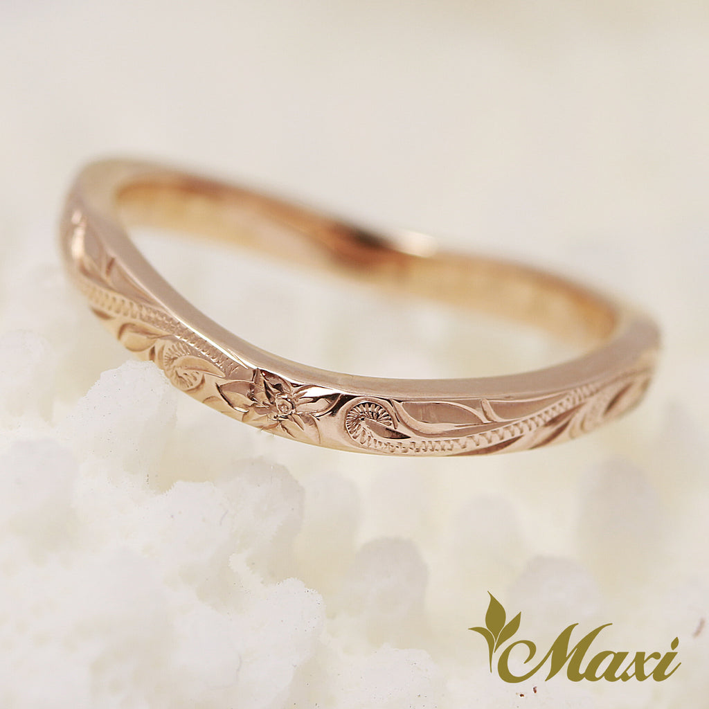 [14K Pink(Rose) Gold] -Single diamond wavy line ring/ Hand Engraved Hawaiian Heritage Old English Design (R0766) Made to Order
