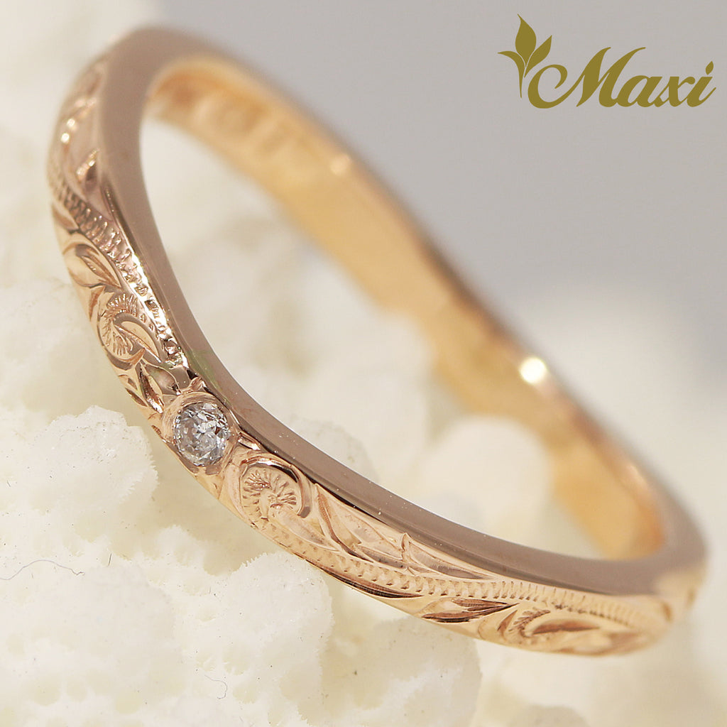 [14K Pink(Rose) Gold] -Single diamond wavy line ring (R0766) Made to Order