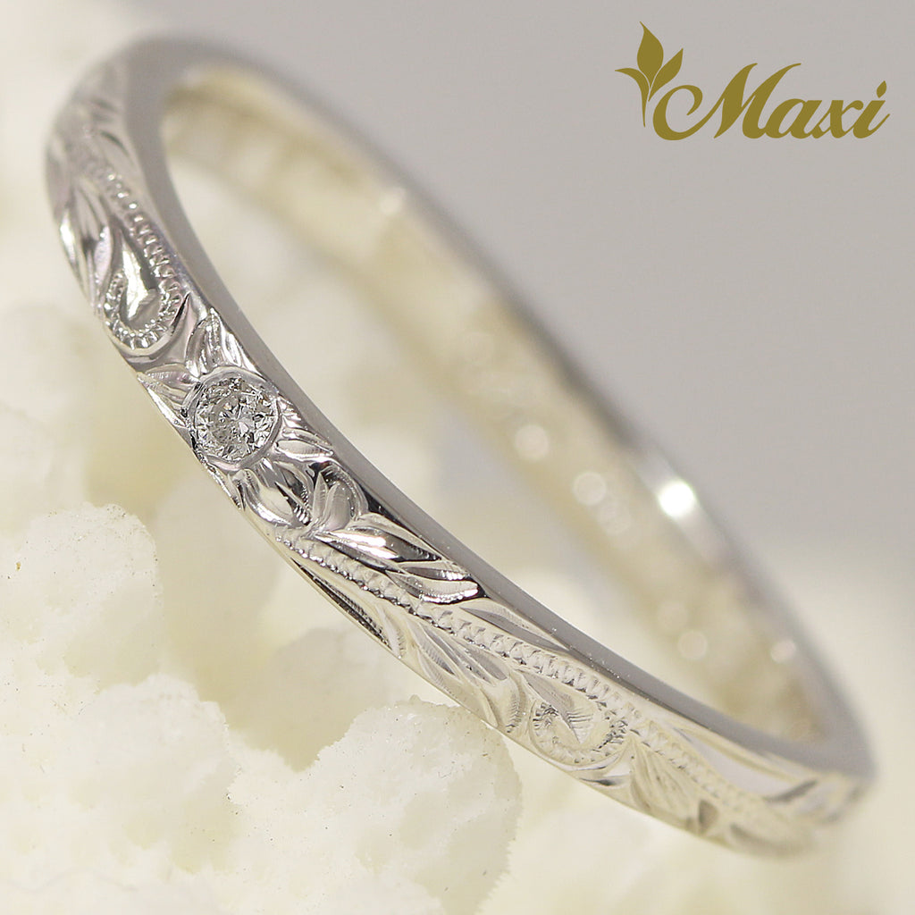 [14K White Gold] -Single diamond wavy line ring/ Hand Engraved Hawaiian Heritage Old English Design (R0766) Made to Order