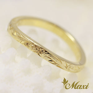 [14K Yellow Gold] Single diamond wavy line ring/ Hand Engraved Hawaiian Heritage Old English Design (R0766)