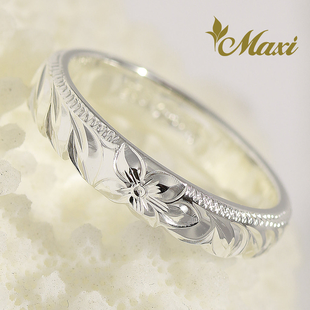[Silver 925] Hawaiian Maile leaf Lei ring 4mm [Made to Order] (R0793)