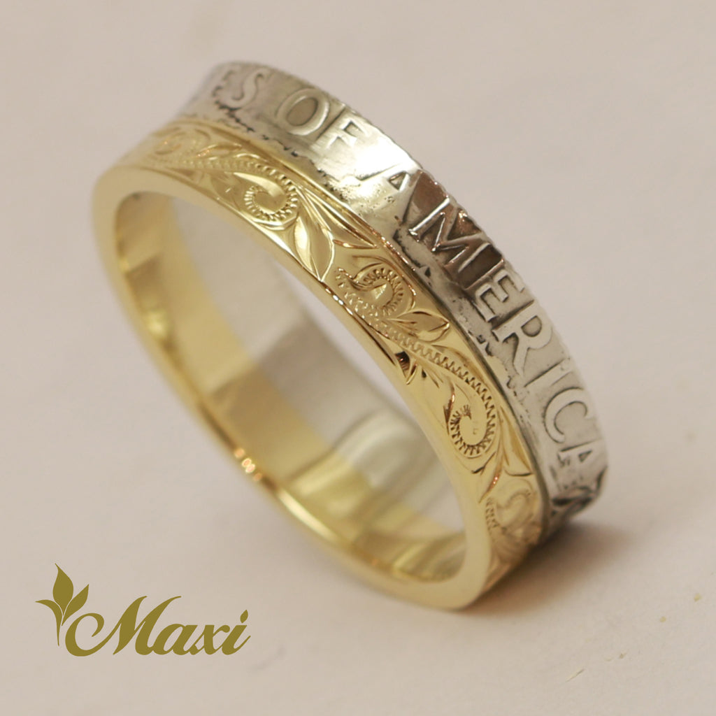 [14K Yellow Gold] 6.5mm width Half Coin Ring [Made to Order] (R0797)