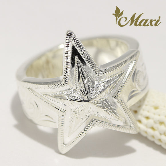 Silver 925 Star Ring / Hand Engraved Traditional Hawaiian Design (R0799)