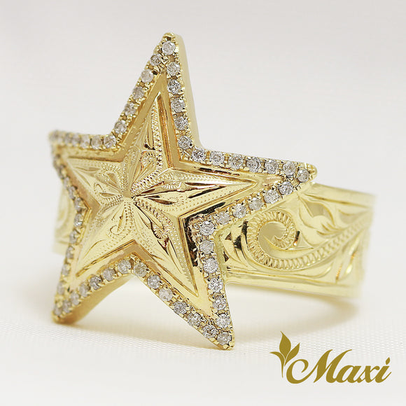 [14K Yellow Gold] Diamond Star ring with hand engraved Old English design (R0799) *take one month*