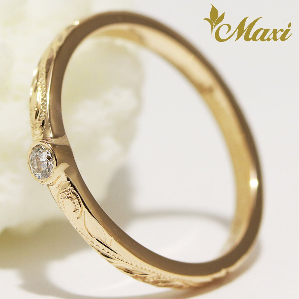 [14K Yellow Gold] 0.06 ct Diamond 2mm Ring (R0812) Made to Order