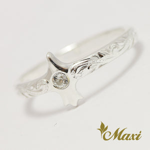 Silver 925 American Eagle Ring -Hand Engraved Traditional Hawaiian Design (R0826)