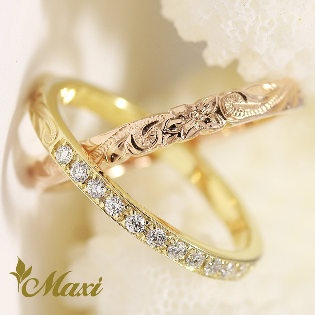 [14K Yellow Gold & Pink Gold]  2 x 3mm Double Ring with Diamond [Made to Order] (R0830)