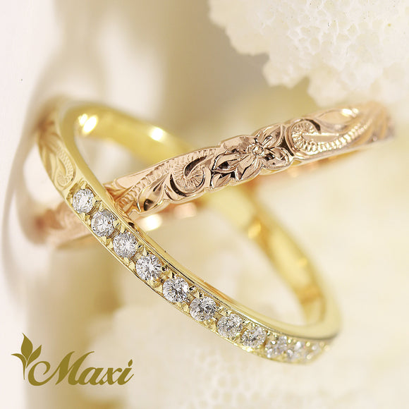 14K Yellow Gold & Pink Gold -Hand Engraved Traditional Hawaiian Design (R0830)