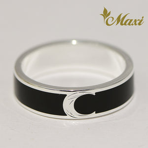 [Silver 925] Black Enamel Ring 5mm / Aloha & Moon (R0840) [Made to Order]
