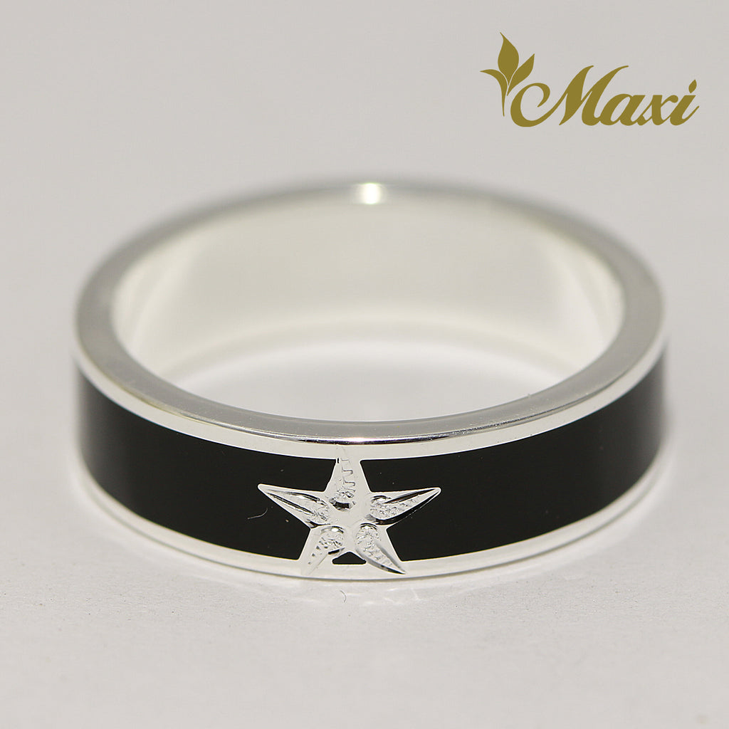 [Silver 925] Black Enamel Ring 5mm / Aloha & Star (R0841) [Made to Order]