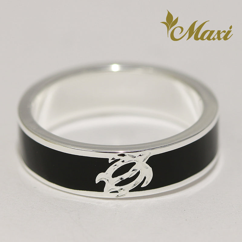 [Silver 925] Black Enamel Ring 5mm / Aloha & Honu (R0842) [Made to Order]