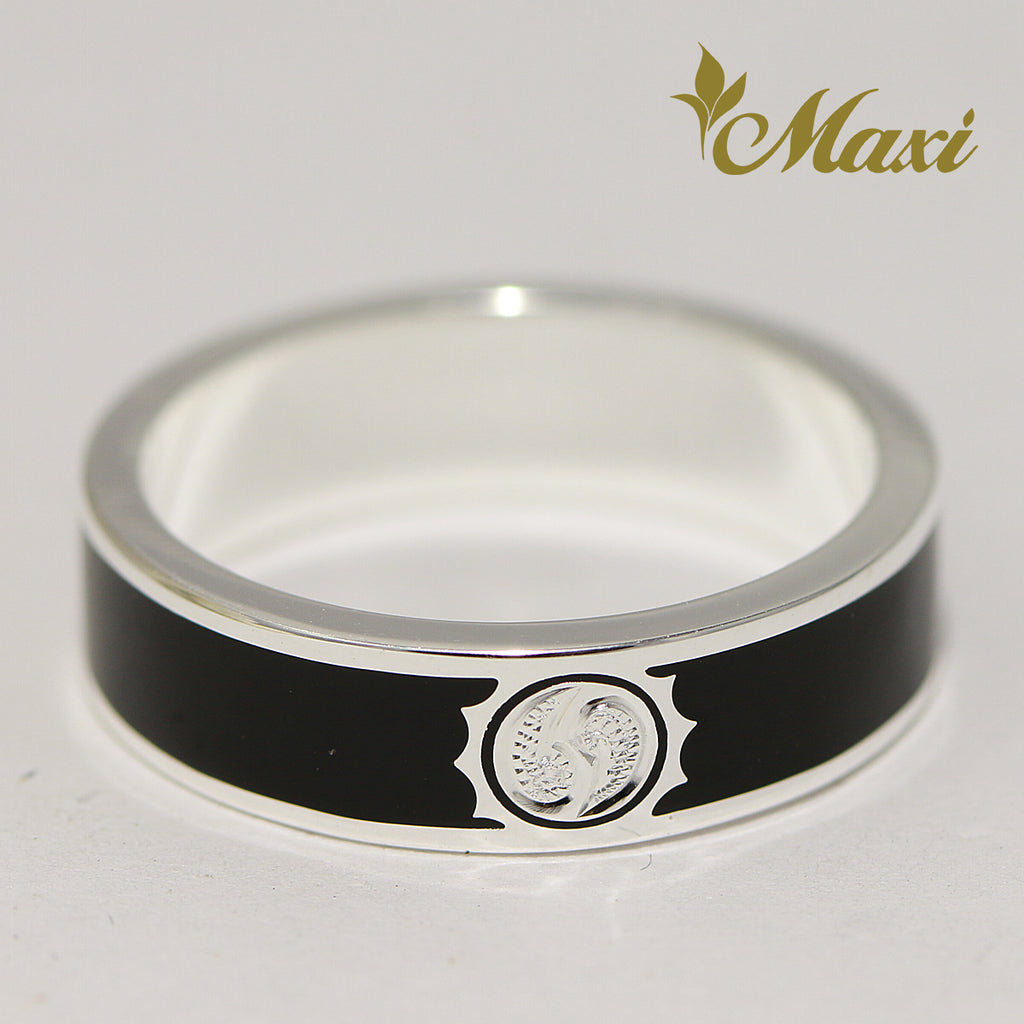 [Silver 925] Black Enamel Ring 5mm / Aloha & Sun (R0843) [Made to Order]