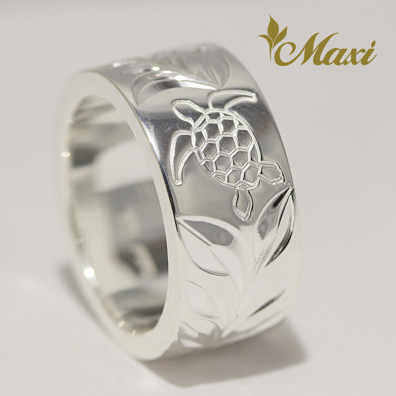 [Silver 925] 10mm*2mm Honu & Maile Ring (R0857) [Made to Order]
