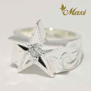 [Silver 925] Star Ring with Crystal (R0866) [Made to Order]