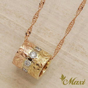 14K Gold 3Tone Small Tube Pedant Top with Diamond -Hand Engraved Traditional Hawaiian Design (TRD)
