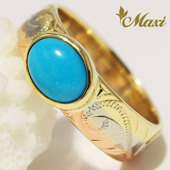 [14K Gold] 6mm Width Rainbow Ring with Turquoise