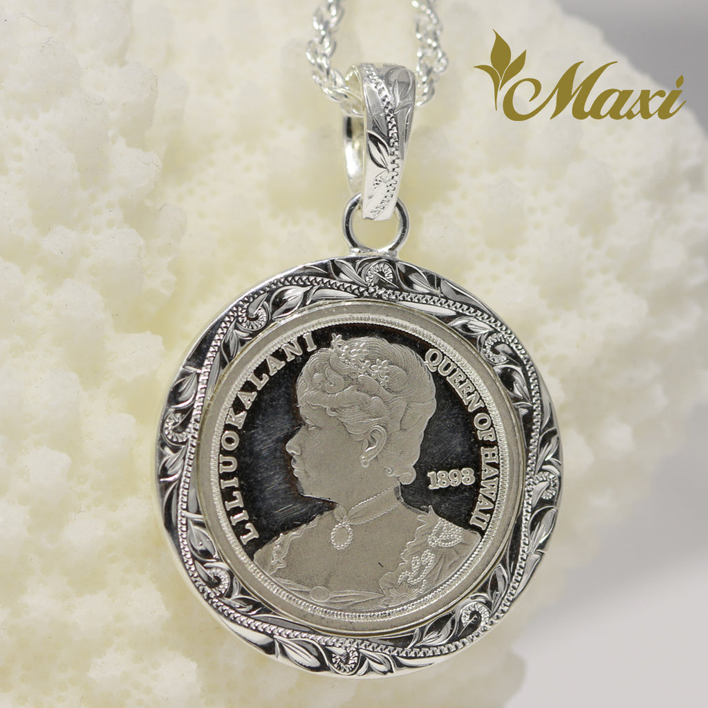 [Silver 925] Replica Liliuokalani Coin Large Pendant (P1274-22mm)