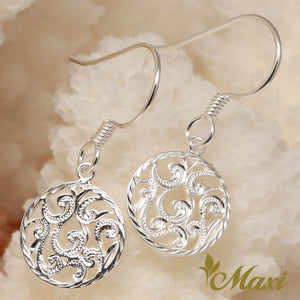 Silver 925 Round Pierced Earring-Hand Engraved Traditional Hawaiian Design (E0134)
