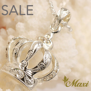 [Silver 925] Crown Pendant-Hand Engraved Traditional Hawaiian Design (P0116) SALE