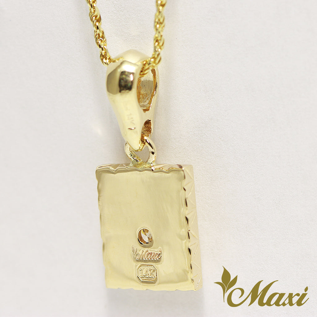 [14K Gold] Square Star pendant with Crystal (P1246) Made to Order