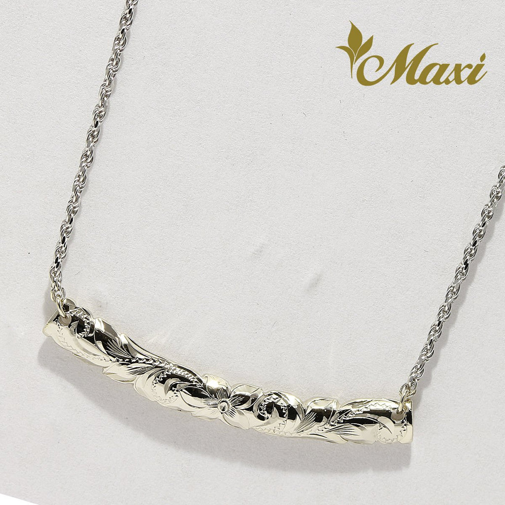 14K white Gold/ Long Horizontal Necklace with Rope Chain/ Hand Engraved Hawaiian Heritage Design (TRD necklace)