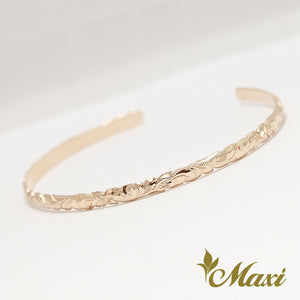 14K Gold Hand-engraved Hawaiian Heritage Design 4mm Width Open Bangle Bracelet