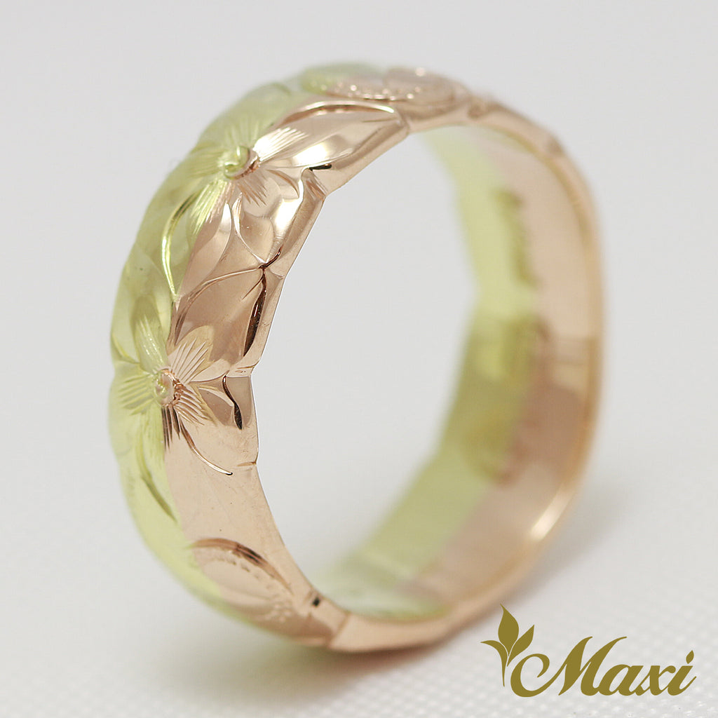 [14K Gold] 6mm Width Rainbow Ring-Twotone*Made to order*(TRDSP)