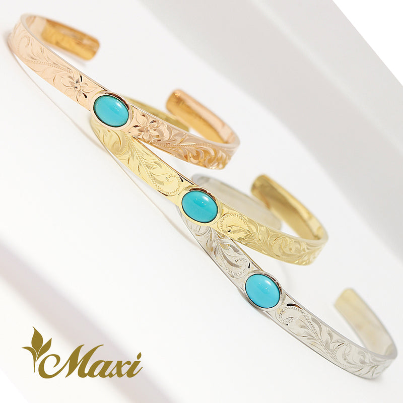 [14K Pink Gold] Sleeping Beauty Turquoise Open Bangle/Hand engraved Hawaiian Old English design