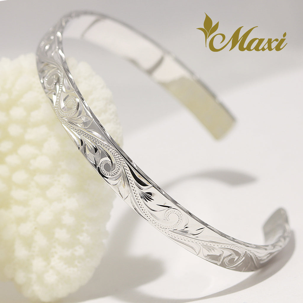 [White Gold] Hand engraved Hawaiian Heritage Old English Design/6mm Width Close Style Bangle