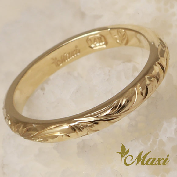 14K Gold Traditional 2.5mm, 2mmThick Ring-Hand Engraved Traditional Hawaiian Design (TRD)