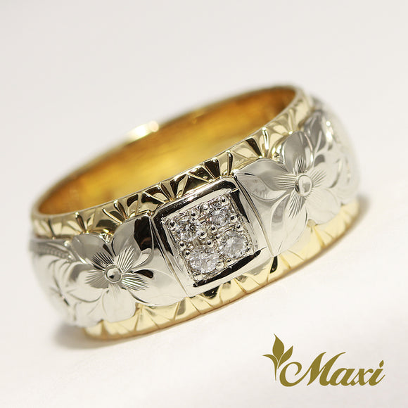 [14K Gold] TRD 10mm Twotone Ring/ 2mm diamonds/Hand engraved Old English design
