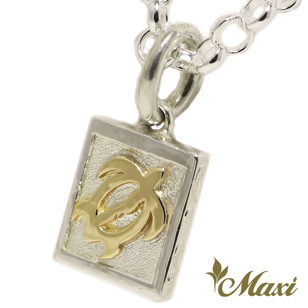 [Silver 925+14K Gold] Honu square pendant *Made to Order*TRDSP