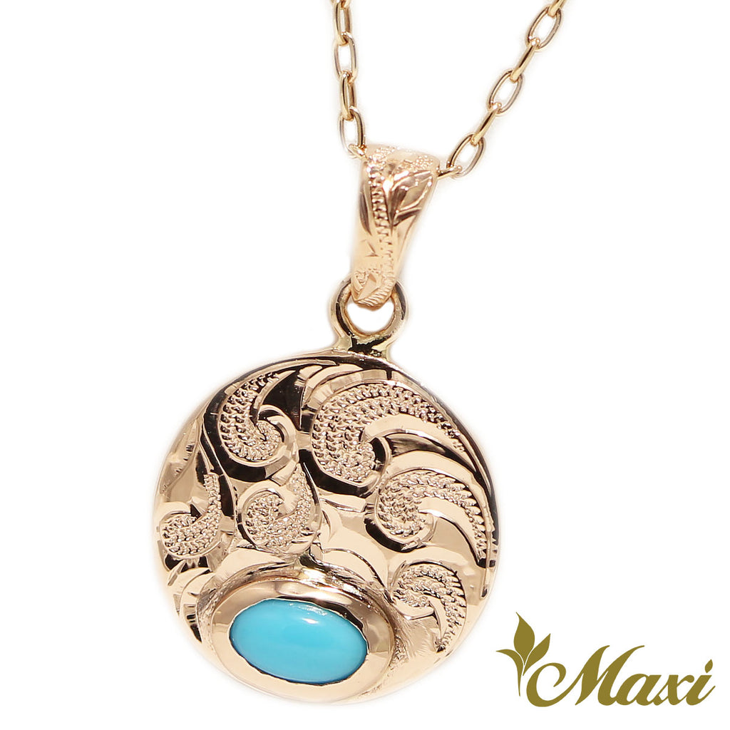 [14K Gold]TRD round Pendant turquoise  *Made-to-order*