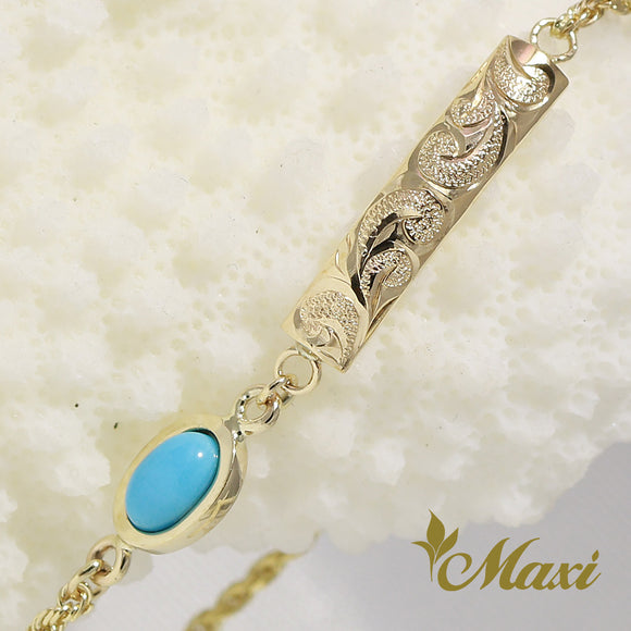 14K Yellow Gold 4mm plate with Turquoise Bracelet -Hand Engraved Traditional Hawaiian Scroll Design (TRD)