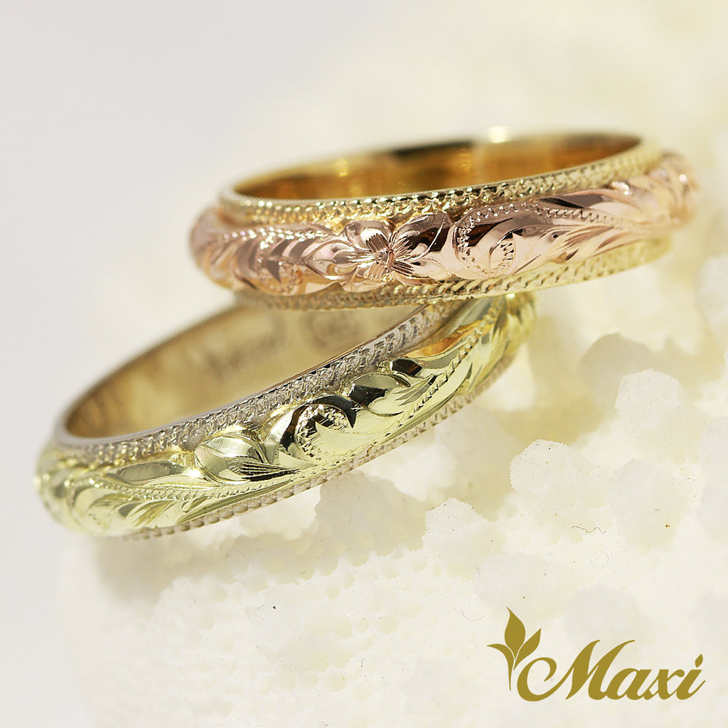 [14K Gold] Coin Edge Two-tone Ring (R0700) Made to order