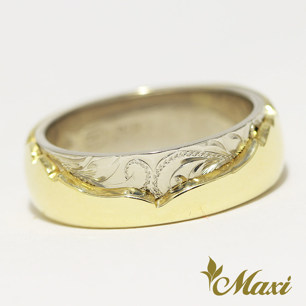 [14K Gold] Two Tone Hawaiian Whale Tale Ring/ 6mm Width [Made to Order]