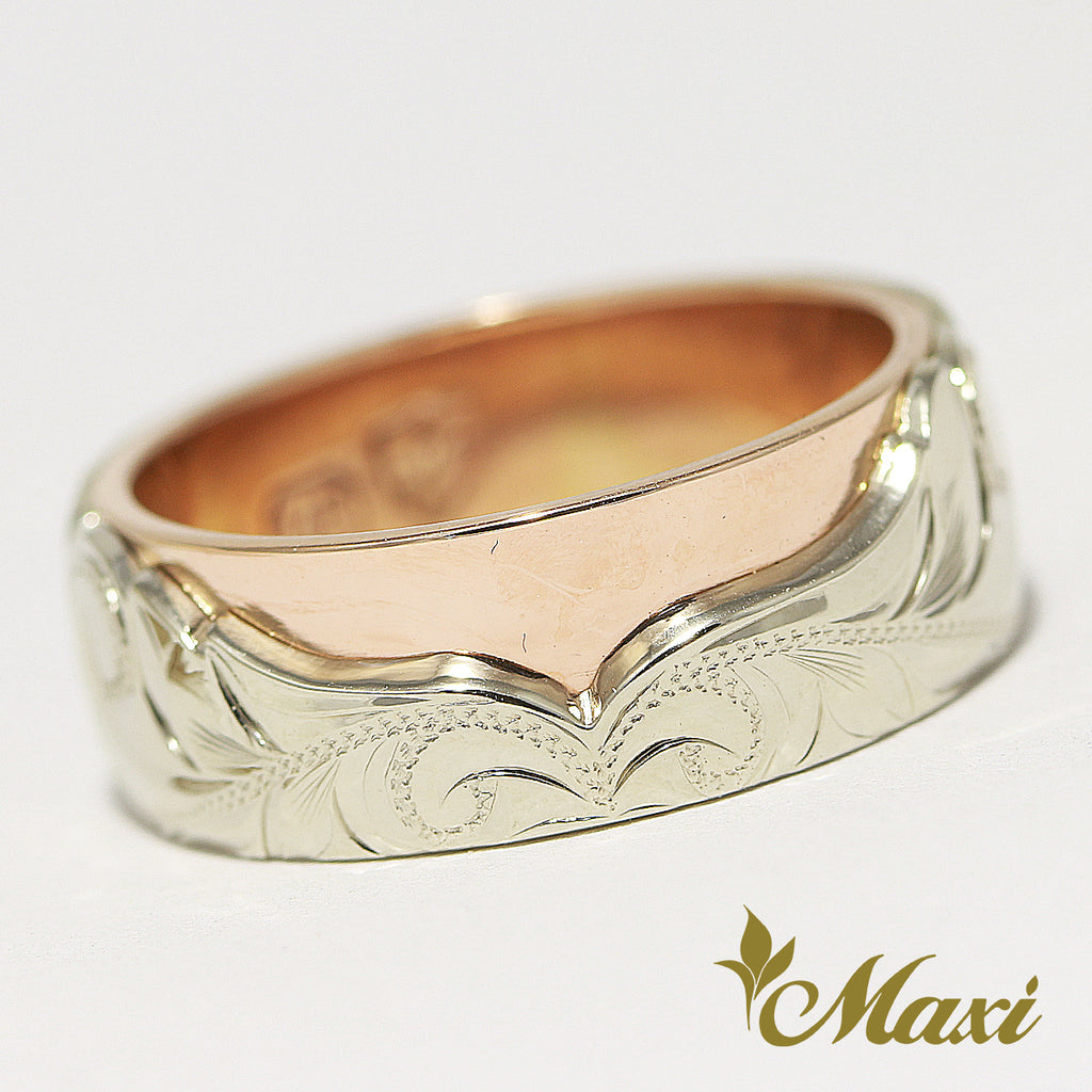 [14K Gold] Two Tone Hawaiian Whale Tale Ring/ 8mm Width [Made to Order]