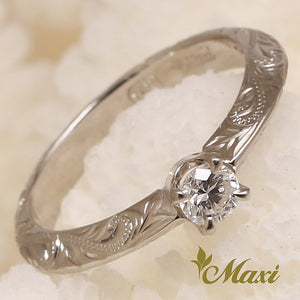 14K Gold Classical Traditional Engagement Angle Ring-Hand Engraved Traditional Hawaiian Design (TRD)