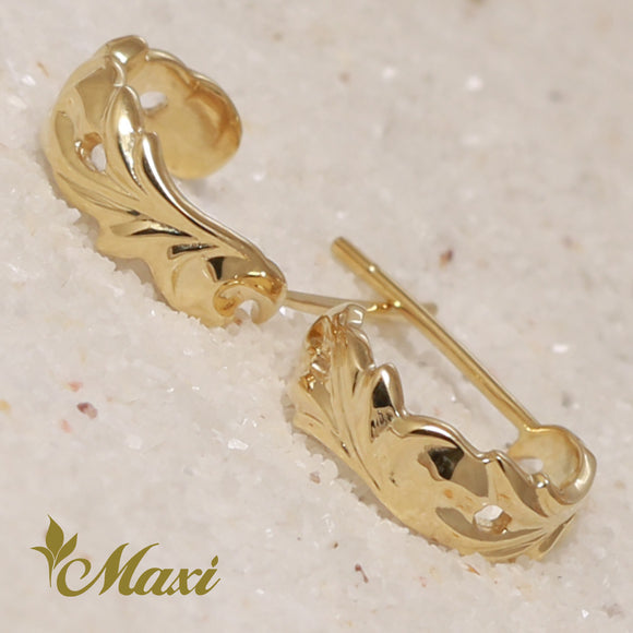 14K Gold Cut Out Pierced Earring-Hand Engraved Traditional Hawaiian Design (E0074)