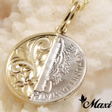 14K Yellow Gold Half Mercury Dime Pendant-Hand Engraved Traditional Hawaiian Design (P0937)