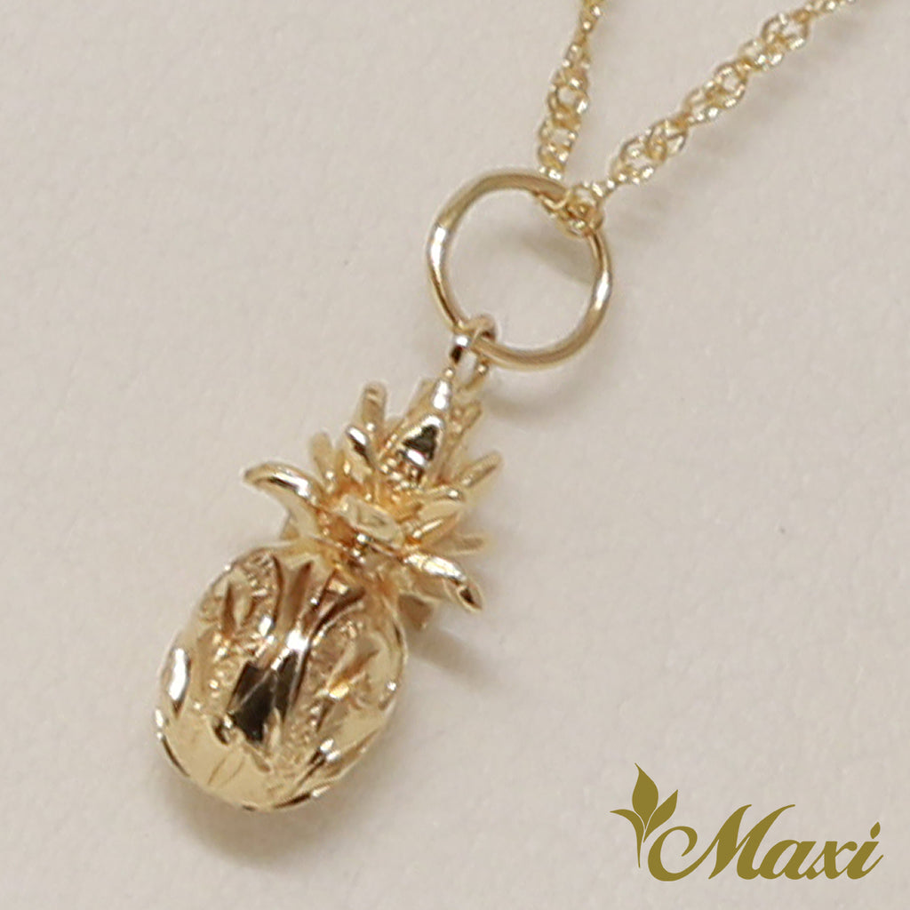 [14K Gold] Pineapple Pendant-Hand Engraved Traditional Hawaiian Design*Made-to-order* (P1160)