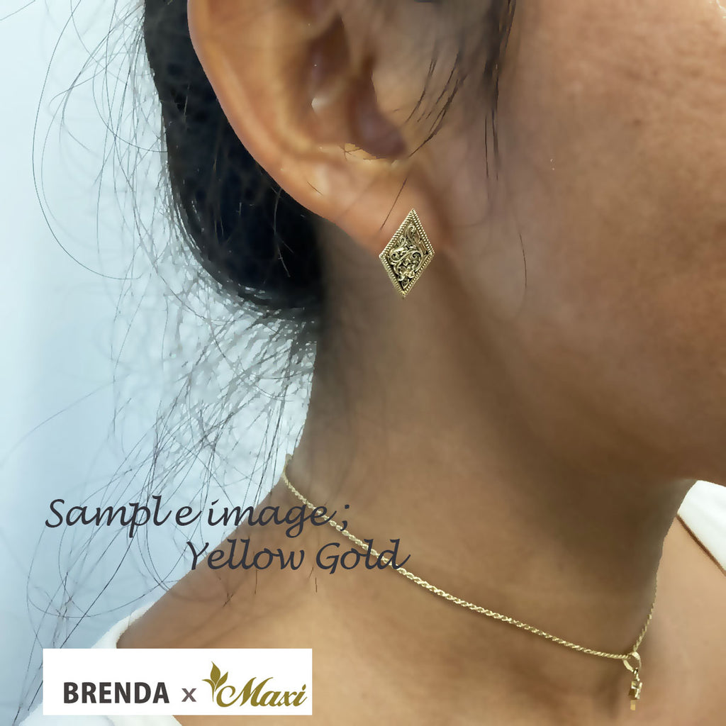 [Silver 925] Brenda x Maxi Diamond Shaped Pierced Earring *Made-to-order* (E0231)