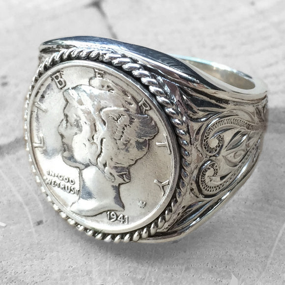 Silver 925 Mercury Dime Ring