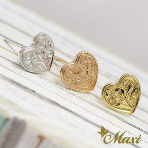 14K Gold -Hand Engraved Traditional Hawaiian Design (E0028)