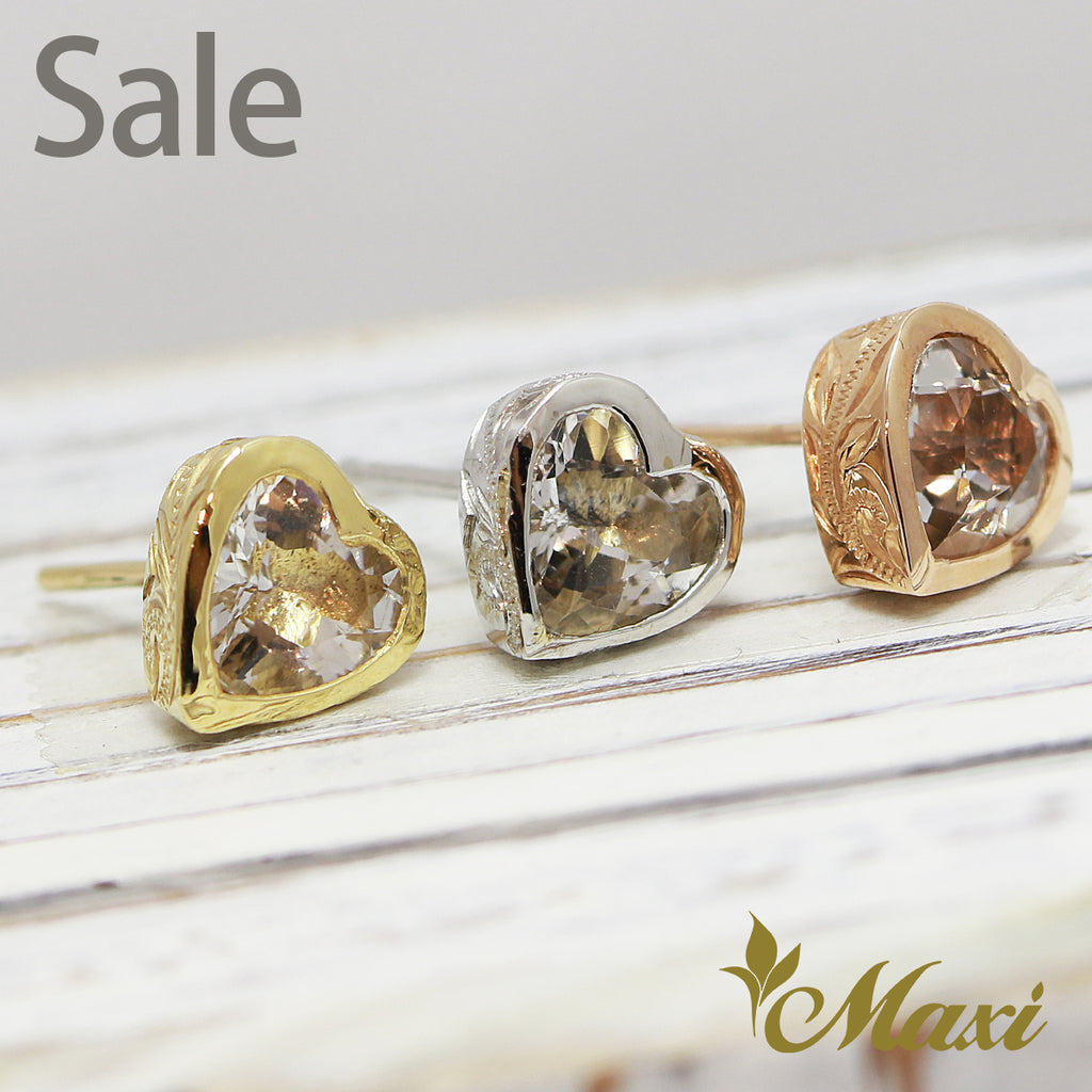 [14K Gold] Heart Crystal Pierced Earring *Made-to-order*Take 1 month to make(E0012)