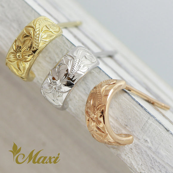 14K Gold Hoop Pierced Earring Small-Hand Engraved Traditional Hawaiian Design (E0152)
