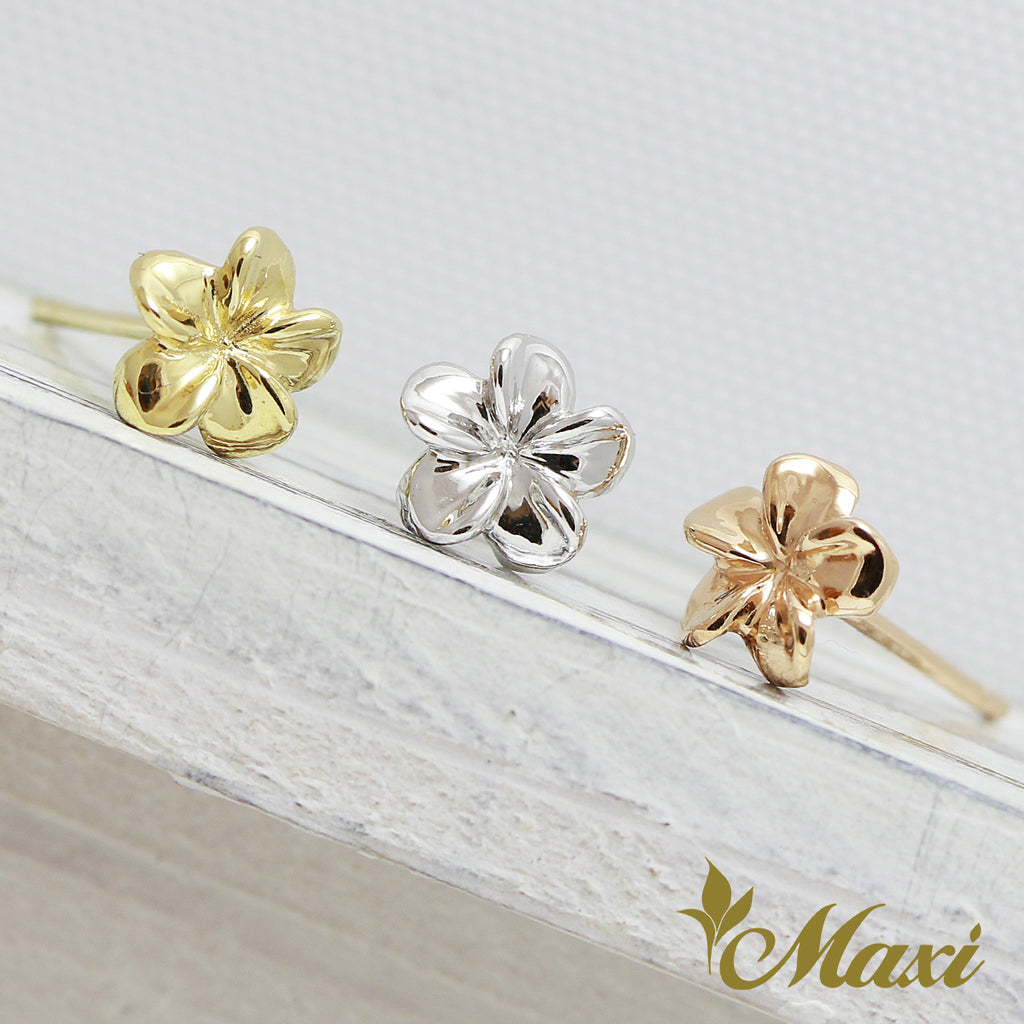 [14K Gold] Plumeria Flower Pierced Earring[Made to order] (E0206)
