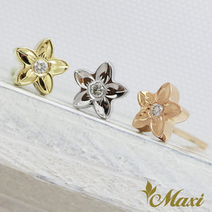 [14K Gold] Hawaiian Plumeria Flower Pierced Earring with Diamond*Made-to-order* (E0214)