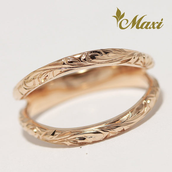 14K Pink(Rose) Gold Mermaid line Ring-Hand Engraved Traditional Hawaiian Design (KR0045)