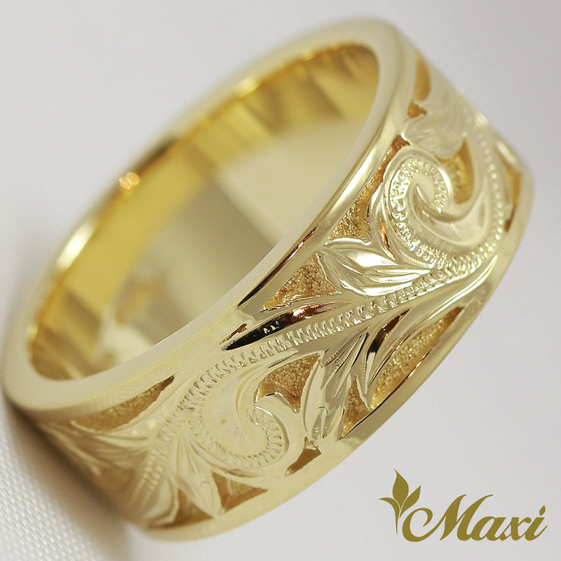 [14K Yellow Gold]  Cut In Sand back Ring  *Made to Order* (KR0001)
